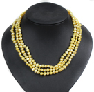Fashion Style 3 Strand Natural Yellow Freshwater Pearl Necklace