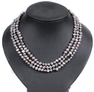 Fashion Style 3 Strand Natural Gray Freshwater Pearl Necklace