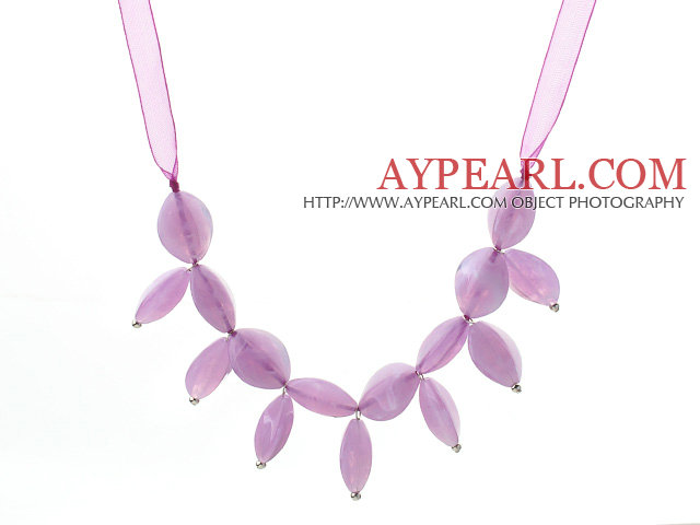 Fashion Style Violet Color Acrylic Necklace with Violet Ribbon