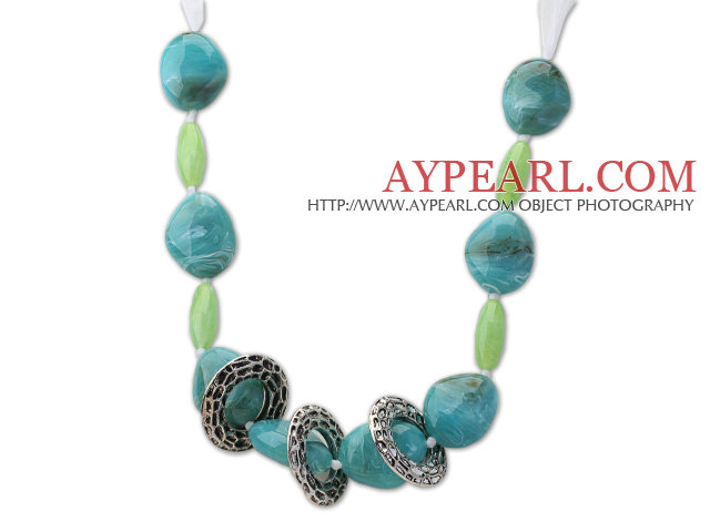 Lake Blue and Green Acrylic Necklace with White Ribbon
