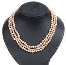 Fashion Style 3 Strand Natural Pink Freshwater Pearl Necklace