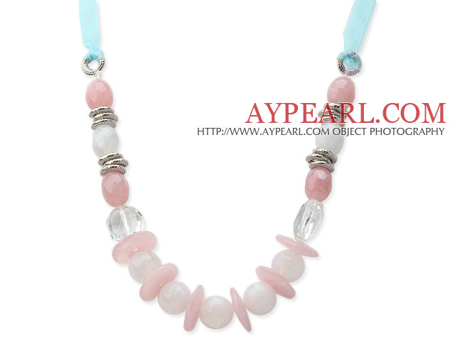 Pink and White Acrylic Necklace with Light Blue Ribbon