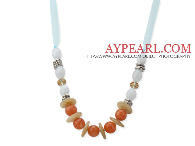 White and Orange Color Acrylic Necklace with Light Blue Ribbon