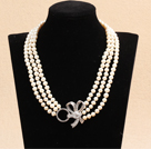 Best Mother Gift Graceful Three Strand Natural White Pearl Party Necklace With Rhinestone Bowknot Clasp