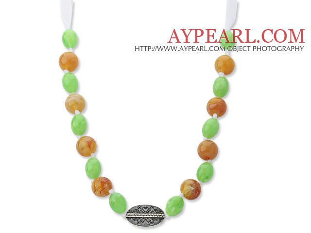 Assorted Green and Bronw Color Acrylic Necklace with White Ribbon