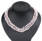 Fashion Style 3 Strand Natural Light Pretty Pink Freshwater Pearl Necklace