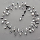 2013 Summer New Design Gray and White Freshwater Pearl and Clear Crystal Necklace