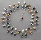 Wholesale 2013 Summer New Design Black and Multi Color Freshwater Pearl and Clear Crystal Necklace