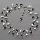 2013 Summer New Design Black and White Color Freshwater Pearl and Clear Crystal Necklace
