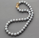 Wholesale Classic Design 10-11mm Round Dark Gray Freshwater Pearl Beaded Necklace with Gold Plated Clasp