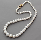 Classic Design Round White Freshwater Pearl Graduated Beaded Necklace with Gold Plated Clasp