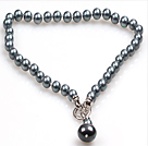 Classic Design 10Mm Grey Black Round Seashell Pendant Necklace(Pendant Can Be Removed)
