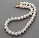 Classic Design Round A Grade White Freshwater Pearl Beaded Knotted Necklace with Gold Plated Clasp