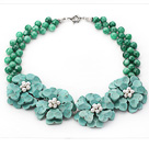 Wholesale 2013 Summer New Design Green Malaysia Jade and Green Turquoise Flower Party Necklace