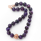 16mm Round Faceted Purple Agate Beaded Knotted Necklace with Golden Rose Color Metal Ball