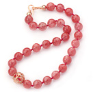14mm Round Faceted Cherry Quartz Beaded Knotted Necklace with Golden Rose Color Metal Ball