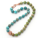 Wholesale 12mm Round Blue and Green Color Imperial Jasper Beaded Knotted Necklace with Golden Rose Color Metal Ball