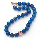 Wholesale 14mm Round Faceted Blue Agate Beaded Knotted Necklace with Golden Rose Color Metal Ball