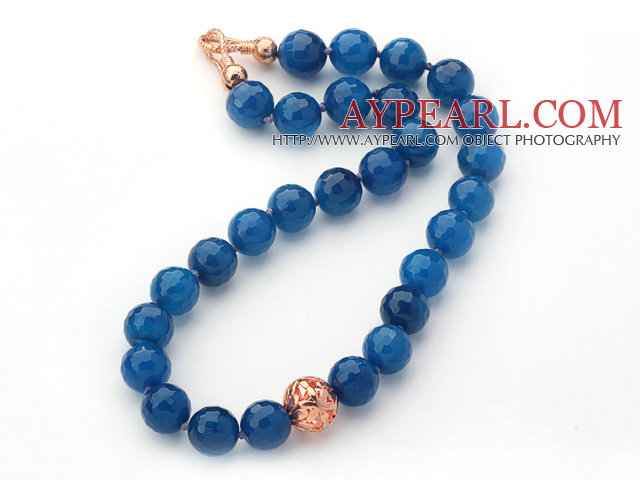 14mm Round Faceted Blue Agate Beaded Knotted Necklace with Golden Rose Color Metal Ball