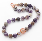 14mm Round Snow Amethyst Beaded Knotted Necklace with Golden Rose Color Metal Ball
