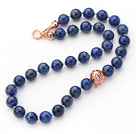 Wholesale 12mm Round Lapis Beaded Knotted Necklace with Golden Rose Color Metal Ball
