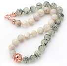 12mm Round Moonstone and Prehnite Stone Beaded Knotted Necklace with Golden Rose Color Metal Ball