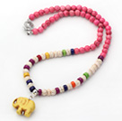 Wholesale Assorted Dyed Pink and Multi Color Howlite Necklace with Elephant Pendant ( Random Pendant Color)