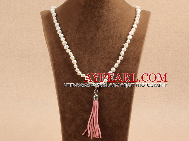 Vente Hot Potato Natural Forme Blanc Collier de perles avec pendentif pompon rose