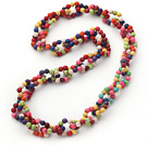 New Design Round Assorted Dyed Multi Color Howlite Link Beaded Necklace