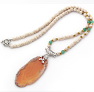 Medium Long Style White Howlite Necklace with Irregular Shape Agate Slice Pendant