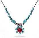 New Design Green Turquoise and Alaqueca Flower Necklace with Black Thread