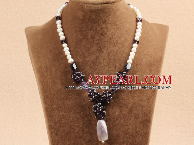 Collier avec pendentif Chips Fshion Natural White Pearl Amethyst