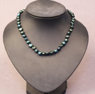 Simple Trendy Style Natural Dark Green Pearl Necklace