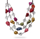 2013 Summer New Design Multi Layer Assorted Multi Color Turquoise and Clear Crystal Necklace