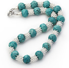 New Design Faceted Green Turquoise Necklace with Silver Color Metal Spacer Accessories