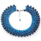 Wholesale 2013 Summer New Design Round Blue Agate Choker Necklace with Adjustable Chain