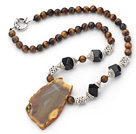Tiger Eye Necklace with Irregular Shape Agate Slice Pendant and Tibet Silver Accessories