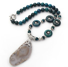 Wholesale Phoenix Stone Necklace with Irregular Shape Gray Agate Slice Pendant