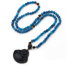 Wholesale Medium Long Style Blue Agate Necklace with Black Onyx Laughing Buddha Pendant