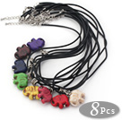 Wholesale 8 Pieces Multi Color Elephant Shape Pendant Necklaces with Black Leather (Total 8 Pieces)