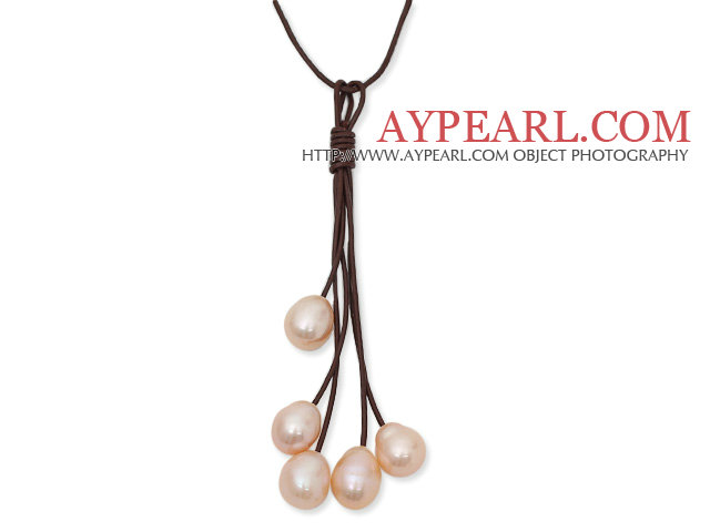 Simple Style 10-11mm Pink Freshwater Pearl Leather Tassel Necklace with Coffee Brown Leather