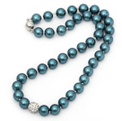 10mm Round Blue and Green Color Seashell Beaded Knotted Necklace with Round White Rhinestone Ball