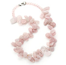 Pink Series Irregular Shape Top Drilled Rose Quartz and Pink Crystal Necklace