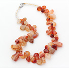 Orange Series Irregular Shape Top Drilled Natural Agate and Clear Crystal Necklace