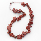 Red Series Irregular Shape Top Drilled Red Jasper and Clear Crystal Necklace