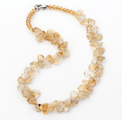 Yellow Series Irregular Shape Top Drilled Citrine and Yellow Crystal Necklace