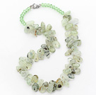 Wholesale Green Series Irregular Shape Top Drilled Prehnite and Green Crystal Necklace