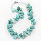 Wholesale Blue Green Series Irregular Shape Top Drilled Amazon Stone and Clear Crystal Necklace