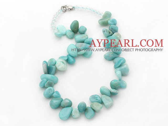 Blue Green Series Irregular Shape Top Drilled Amazon Stone and Clear Crystal Necklace