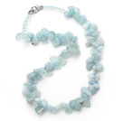 Wholesale Light Blue Series Irregular Shape Top Drilled Aquamarine and Clear Crystal Necklace